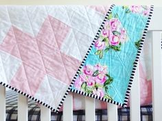 Plus sign quilts with colorful backing. Simple and fun. LWPHsews.com