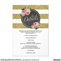 Shop Gold Sparkle Floral Pink Chic Wedding Details Enclosure Card created by special_stationery. Pink Invitations, Gold Wedding Invitations, Wedding Cards, Chic Wedding, Luxury Wedding, Floral Wedding, Wedding Wording, Wedding Details Card, Reception Card