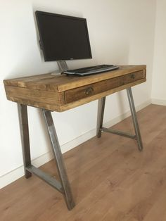 GENUINE RECLAIMED PINE DESK / DRESSING TABLE WITH DRAWER  These are the best quality product you will find and is genuine reclaimed pine.  We are a respected seller on who are renowned for our high quality products.  Choose from a variety of options.  Dimensions 80cm-140cm (W) x 40cm-60cm (D) x 81cm (H) unit shown; Tudor Oak finish   THE A-FRAME LEGS Made from Furniture Graded Steel bar, Fillet welded to a steel fixing plate with multiple holes ready for a strong fixing.  A Robust furniture…