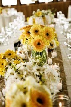 Burlap table runners and yellow flowers - for @Stevie Staggs - you need to change your colors! lol This is gorgeous!!!
