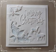 Elly's Card- Corner: Merry Christmas http://ellyscardcorner.blogspot.com/2014/10/merry-christmas_10.html Frantic Stamper Script Merry Christmas, Jolly Holly Sprigs, Buck and Doe