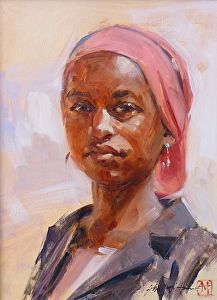 "John Austin Hanna - ""Red Oxide and Pink"" x Oil Portraits, Portrait Art, Portrait Paintings, Female Portrait, Rembrandt, Gouache, Acrylic Portrait Painting, African Art Paintings, Figure Drawing Reference"
