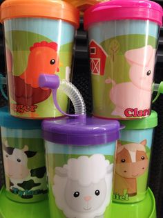 Farm Animals Birthday Party Favor Cups Set by ReadySetPersonalize