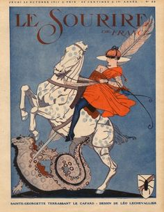 Sainte Georgette and the dragon by Leo Lechevalier - 1917 Vintage Magazine, Horse Posters, Horse Illustration, Horse Books, Leo, Vintage Horse, Horse Print, Equine Art, Medieval Art