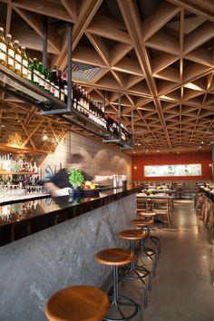 Bibigo, Korean Restaurant in Central London Bar Interior Design, Restaurant Interior Design, Cafe Interior, Cafe Design, Healthy Restaurant Design, Cafe Bar, Cafe Restaurant, Korean Restaurant London, Detail Architecture