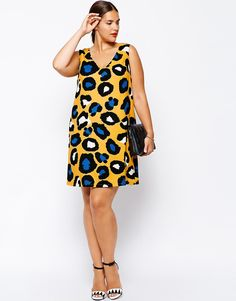 ASOS CURVE Shift Dress In Bright Animal Print
