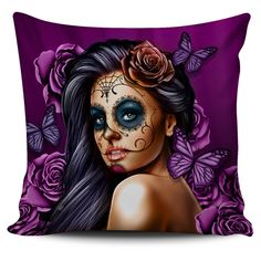 Purple Tattoo Calavera Pillow. These are CUSTOM printed design by our company and you will never find these else where. BUY NOW