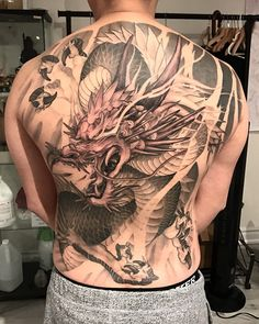 Image may contain: one or more people Dragon Tattoo Colour, Black Dragon Tattoo, Small Dragon Tattoos, Dragon Sleeve Tattoos, Japanese Dragon Tattoos, Japanese Tattoo Art, Japanese Tattoo Designs, Dragon Tattoo Designs, Oni Mask Tattoo