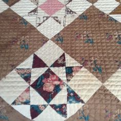 "1850's FRENCH STAR QUILT, measures 74 ½"" wide by 93"" long, signed in embroidered stitches ""GO"". 10 inches square each, combos of delicate tiny florals and miniature geometric roller prints."