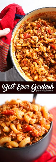 Childhood memories - This American version of Goulash is the most comforting of all comfort food. It is warm, delicious, filling, irresistible and easy to prepare. It is the perfect weeknight family meal! Casserole Recipes, Crockpot Recipes, Cooking Recipes, Best Goulash Recipes, Healthy Recipes, Chicken Recipes, Cooking Ideas, Healthy Meals, Cheap Pasta Recipes