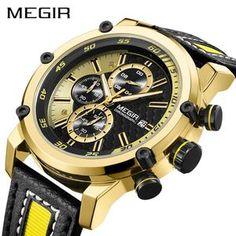 Luxury Military Men Quartz Watch Fashion Waterproof Sport Watches MEGIR Male Casual Leather Strap Business Wrist Watch