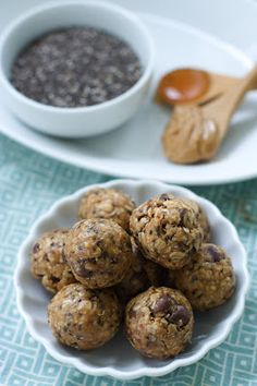 Peanut butter chocolate chip chia bites! Sounds like a good high-protein, high-energy snack.