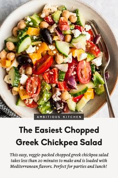 This simple and easy chopped greek chickpea salad recipe takes less than 20 minutes to throw Salad Recipes Healthy Lunch, Chickpea Salad Recipes, Salad Recipes Video, Salad Recipes For Dinner, Vegetarian Recipes, Cooking Recipes, Healthy Food, Simple Salad Recipes, Cooking Tips
