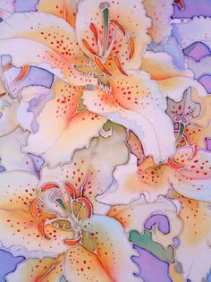 Guild of Silk Painters: Mandy Southan describes how she created Painted Speckled Lilies. myb