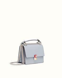 FENDI KAN I SMALL - Mini-bag in slate gray leather