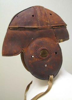 Courtesy of the Syracuse University Archives. Leather football helmet, 1917. Syracuse University's first football team appeared in 1890. Gift from A.C. Atterbury.