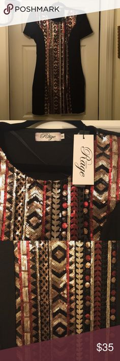 Madam Rage black dress with sequin panel Bought this dress at ASOS. Brand new. Zipper is on the side. I bought it from ASOS. I googled it and dress is UK size 12 and that converts to size 8 in US. madam rage Dresses Mini