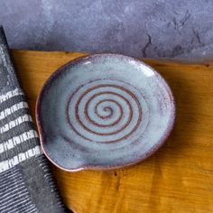 Rustic Spoon Rest in Purple Glaze with Spiral Marks Ladle | Etsy Rustic Spoons, Incense Holder, Incense Sticks, Different Textures, Ceramic Planters, Stoneware Clay, Spoon Rest, Tea Towels, Safe Food