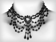 *Gothic choker - black beads II