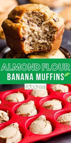 Almond Flour Banana Muffins are easy, low carb, gluten and sugar free! These muffins are the best for kid snacks and are healthy enough for breakfast. So good they melt in your mouth! Baking With Almond Flour, Almond Flour Recipes, Desserts With Almond Flour, Almond Flour Muffins, Low Carb Desserts, Low Carb Recipes, Dessert Recipes, Pastry Recipes, Jelly Recipes