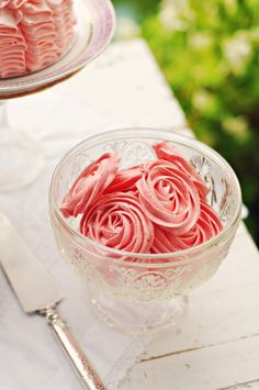 Rose-shaped meringues (so chic). Lots of other great tea party food ideas at the source page.