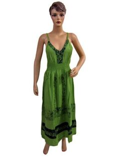 Womens Green Batik Print Embroidered Bohemian Summer Sundress Spaghetti Dress Mogul Interior, http://www.amazon.com/dp/B0085JDQTU/ref=cm_sw_r_pi_dp_1fEXpb0PMG3Y6