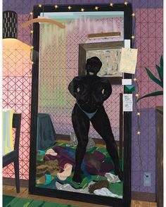 Kerry James Marshall, Untitled (Mirror Girl) Collection Museum of Contemporary Art Chicago