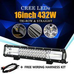 "CREE 7D  REFLECTOR 16INCH 432W TRI-ROW LED LIGHT BAR SPOT FLOOD OFFROAD 4WD 16"""