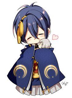 Touken ranbu mikazuki et kogitsunemaru Chibi Boy, Kawaii Chibi, Cute Chibi, Anime Kawaii, Anime Chibi, Manga Anime, Anime Art, Hot Anime Guys, Anime Love