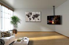 "Black TV Flat Ceiling Mount Adjustable Height & Tilt for 26"" to 55"" LCD LED Screen"