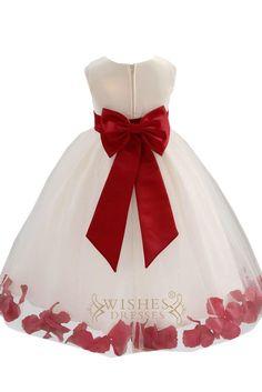 Ivory Tulle Rose Floral Petals Toddler Flower Girl Dresses Bridal Gown - Trendy Ideas for Wedding Fall Flower Girl, Red Flower Girl Dresses, Red Wedding Dresses, Ivory Dresses, Bridal Dresses, Girls Dresses, Wedding Flowers, Tulle Wedding, Toddler Flower Girl Dresses