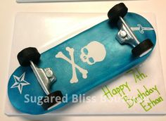 Skull And Crossbones Skateboard Half white and half chocolate cake filled with chocolate mousse and iced in american buttercream icing....