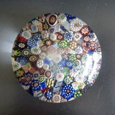 Vintage Glass Paperweights | ANTIQUE BACCARAT CLOSE-PACKED MILLEFIORI GLASS PAPERWEIGHT 19th C.