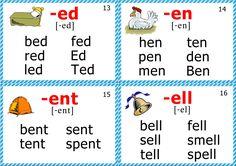 phonics flashcards short e sound