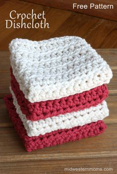 A simple free crochet pattern for a kitchen dishcloth or a bathroom washcloth.