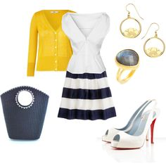 """Blue and yellow"" by jossiebristow on Polyvore"