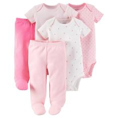 Child Of Mine by Carter's Newborn Baby Girl Bodysuits and Footed Pants, 5-Piece Set
