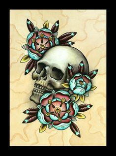 Skull & Roses Tattoo Art - Print
