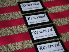 Wedding DIY: Reserved Seating Signs (for the ceremony)