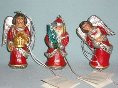 Pam Schifferl Midwest of Cannon Falls 3 Primitive Style Santa & Angel Ornaments