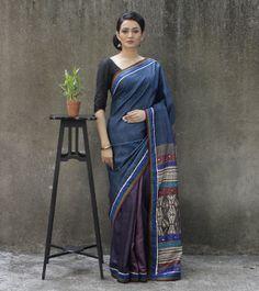 Indigo Blue Tussar Silk Saree with Batik Work