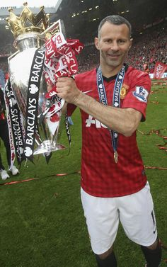 Ryan Giggs with his thirteenth Barclays Premier League title.