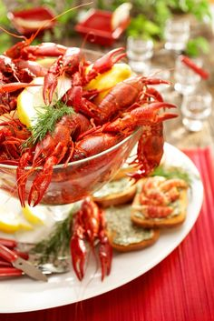 """A crayfish party is a traditional summertime eating and drinking celebration in… Finnish Cuisine, Crawfish Party, Anna, Brunch Wedding, Fish Dishes, Fish And Seafood, Summer Recipes, Gourmet Recipes, Food Videos"