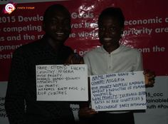 This is Otono and Apapa. Otono is from Nigeria. His high priority is 'enhance women's economic opportunity.' His low priority is 'increase birth rate in rich countries.' Apapa considers 'women's empowerment' and 'reduction of violence against women' to be high priorities, and feels that 'increase birth rates in rich countries' and 'discourage early retirement' are low priorities.