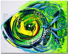 """""""Fish Sublime, with Extra Lime"""" Fish Illustration, Sea Art, Fishing Gifts, Colorful Fish, Fish Art, Stretched Canvas, Under The Sea, Mixed Media Art, Art Lessons"""