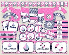 Printable Birthday Party Decorations by PixiePerfectParties Baby Shower Printables, Party Printables, Baby Shower Invitations, Birthday Invitations, Birthday Party Decorations, Birthday Parties, Nautical Party, Tent Cards, Pink Birthday