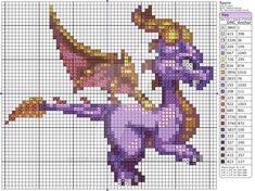Cross-stitch Spyro the Dragon. Pokemon Cross Stitch, Dragon Cross Stitch, Cross Stitch Fairy, Beaded Cross Stitch, Cross Stitch Embroidery, Free Cross Stitch Charts, Counted Cross Stitch Patterns, Cross Stitch Designs, Blackwork
