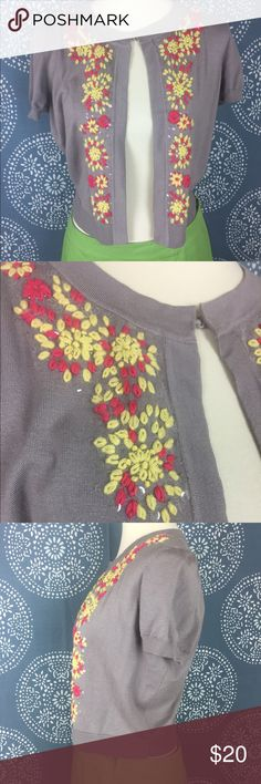 """Inc International Concepts Embroidered Shrug Adorable gray/taupe shrug with yellow/coral floral embroidery and iridescent sequins. Cloth hook and eye closure at the top. Great condition. 19"""" armpit to armpit and 18.5"""" long. INC International Concepts Sweaters Shrugs & Ponchos"""