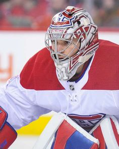 CALGARY, AB - DECEMBER Carey Price of the Montreal Canadiens in action against the Calgary Flames during an NHL game at Scotiabank Saddledome on December 2017 in Calgary, Alberta, Canada. (Photo by Derek Leung/Getty Images) Montreal Canadiens, Goalie Mask, Nhl Games, Cool Masks, Hockey Players, Ice Hockey, Calgary, Football Helmets, December 22
