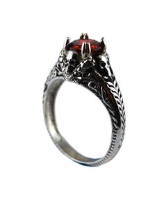 SK2262 Ladies Skull with Imitation Red Ruby Stone Stainless Steel Motorcycle Biker Ring Size 6-10